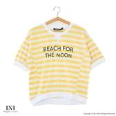 【INI】注目條紋、舒適修飾好感上衣.黃色