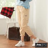 【JEEP】女裝鬆緊抽繩休閒長褲-淺卡其