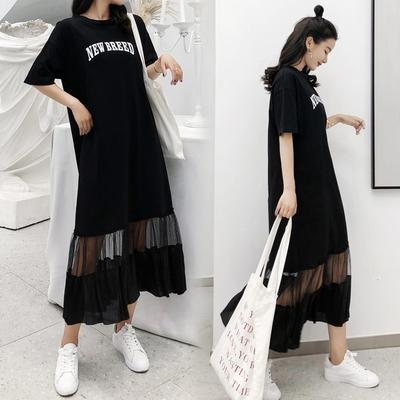 洋裝休閒長裙 寬版T恤裙 L-3XL 6261 長款洋裝大碼拼接網紗裙擺短袖連身裙S109.胖丫