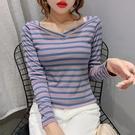 長袖T恤 女~條紋T恤女裝修身顯瘦百搭體...