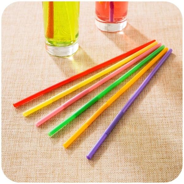 [超豐國際]彩色可彎曲塑料加長吸管 創意兒童一次性果汁飲料奶茶吸