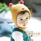 交換禮物-秋冬新款正韓雙球繫帶嬰兒帽男女寶寶毛線帽護耳保暖兒童套頭帽