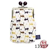 【日本製】貓小紋帆布系列 縱長型口金萬用包 小貓腳印圖案 SD-7045 - 日本製 貓帆布系列