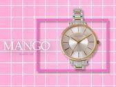 【時間道】MANGO 休閒簡約仕女腕錶 / 粉紅面玫瑰金框半金鋼帶 (MA6698L-10R)免運費