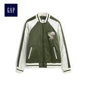 Gap女裝 潮流刺繡撞色長袖棒球領外套 473489-橄欖綠