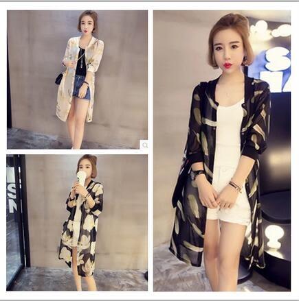 【TU22】韓版時尚女裝修身顯瘦圓領五分袖中長款雪紡防曬衣875