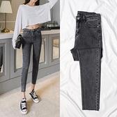 黑灰色破洞牛仔褲女秋冬季2021新款高腰加絨顯瘦顯高緊身九分小腳 米娜小鋪