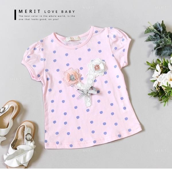 甜美粉嫩點點花朵蕾絲上衣 竹節棉 公主袖 短袖 粉色 女童【哎北比童裝】