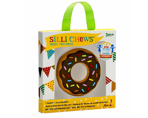 【愛吾兒】美國 SiLLi CHeWS 巧克力甜甜圈咬牙器  固齒器 美國設計 3個月以上適用