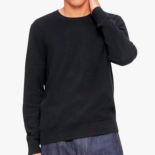 Calvin Klein 男羊毛毛衣(黑色)