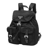 【台中米蘭站】全新品 PRADA 經典Saffiano三角LOGO雙口袋穿釦束口尼龍後背包(1BZ677-黑)