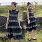 漂亮小媽咪 實拍 兩件式 雪紡 洋裝【D8312】無袖 韓系 格子 修身 連身裙 格紋 質感 小洋裝