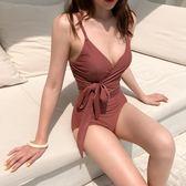 潛水服 韓國泳衣女連體性感顯瘦保守遮肚bikini豆沙色溫泉沙灘度假游泳裝