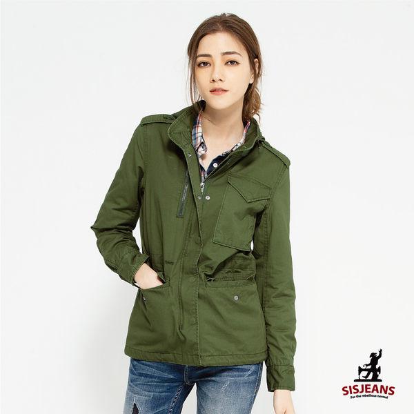 SISJEANS-修身軍綠軍裝連帽外套【16293001】