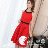 連身裙-夏新款韓版大碼女裝休閑純色修身顯瘦百搭時尚連衣裙-奇幻樂園