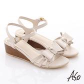 A.S.O 玩美涼夏 牛皮立體蝴蝶結楔型涼鞋  米