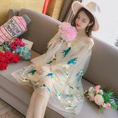 夏裝女一字領漏肩喇叭袖網紗連身裙寬松刺繡仙女裙潮洋裝