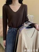針織長袖T恤 秋季韓版寬松百搭V領長袖套頭針織打底衫修身T恤女學生衣服ins潮 歐歐