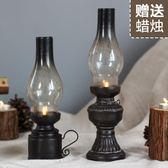 復古老式煤油燈擺件樹脂燭臺道具咖啡廳裝飾品創意酒吧工藝品擺設