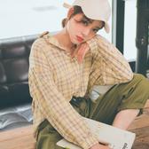 MUMU【T30485】小澎袖落肩格紋襯衫。粉/黃