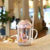 吸管杯 兒童玻璃水杯牛奶杯帶刻度早餐喝奶杯微波爐可加熱玻璃兒童吸管杯 夢藝家