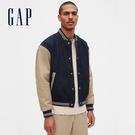 Gap男裝 時尚拼接設計棒球外套 573534-卡其色