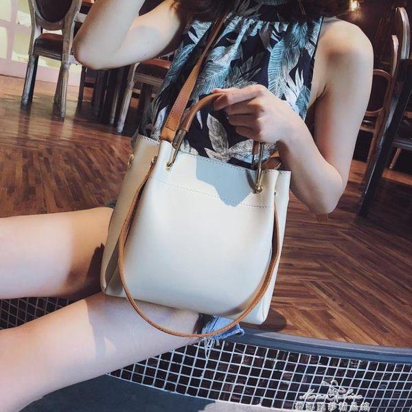 手提包包女新款潮百搭斜背包簡約時尚單肩包大容量水桶包『夢娜麗莎精品館』