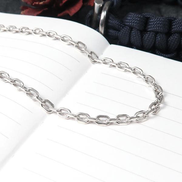 經典方形稜角鍊(3.5mm寬) 22吋寬版搭配鍊 925純銀男生項鍊