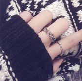 日韓國簡約復古潮人S925純銀創意做舊麻花六芒星食指開口戒指環女 沸點奇跡