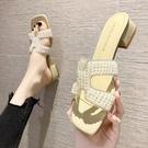 高跟拖鞋 小香風拖鞋女夏外穿ins潮2021新款珍珠透明粗跟高跟涼鞋中跟涼拖