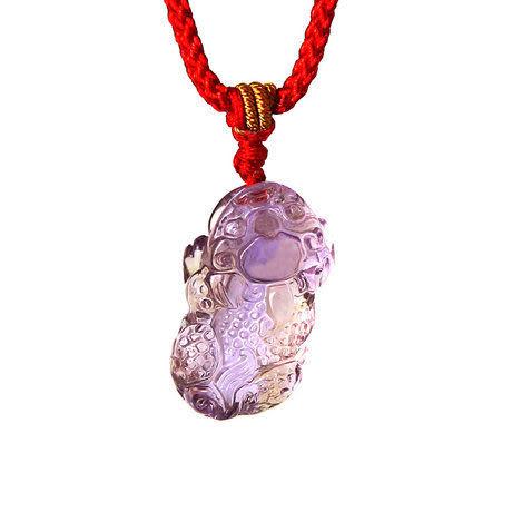 開光紫黃晶貔貅吊墜 招財貔貅掛件