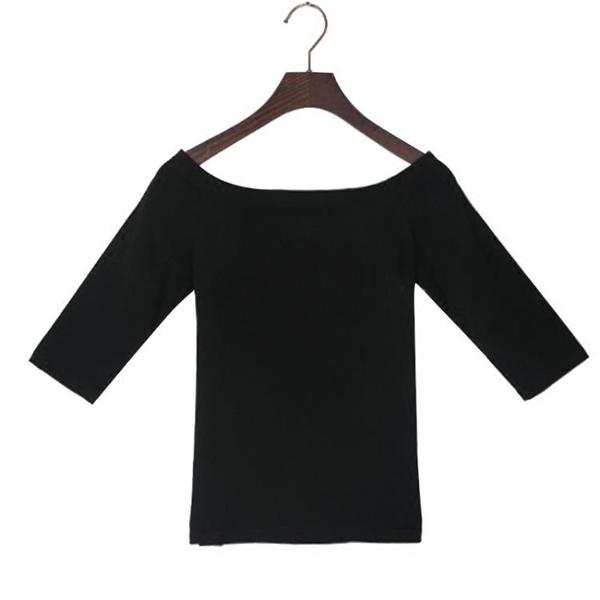 一字領上衣短袖女T恤露肩新款黑色修身五分袖性感中袖夏季潮