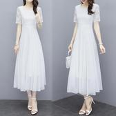 2020夏季新款白色雪紡長裙仙氣質大擺連身裙海邊度假沙灘裙女長款 貝芙莉