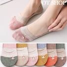 OT SHOP [現貨] 襪子 隱形襪 淺口襪 女款 棉質 拚色 日系可愛卡通圖案 兔子 止滑矽膠 文青 M1044