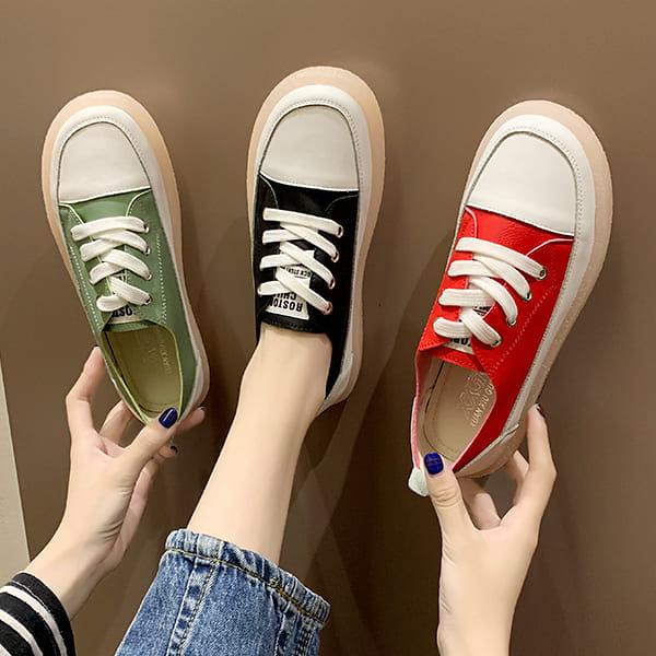板鞋.休閒拚色字母綁帶透明底休閒包鞋.白鳥麗子
