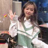 馬甲 女裝韓版學院風時尚寬鬆百搭針織衫無袖背心短款馬甲上衣外套 蓓娜衣都