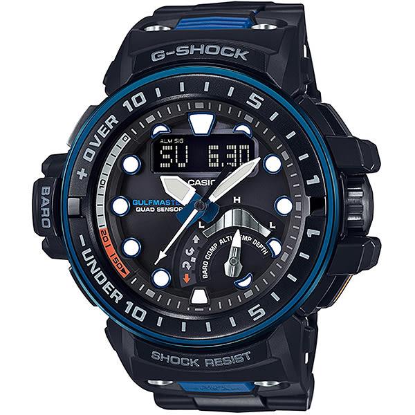 【台南 時代鐘錶 CASIO】卡西歐 G-SHOCK 宏崑公司貨 GWN-Q1000MC-1A2 太陽能電波強悍專業潛水錶
