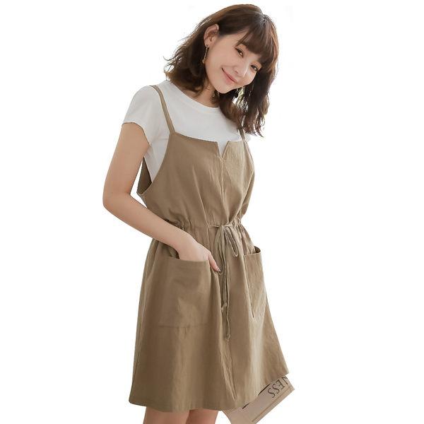 東京著衣-tokichoi-日系純棉細肩帶綁帶洋裝-S.M.L(190449)