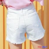 百姓公館 短褲 高腰 牛仔短褲 白色 寬鬆 顯瘦 a字 闊腿