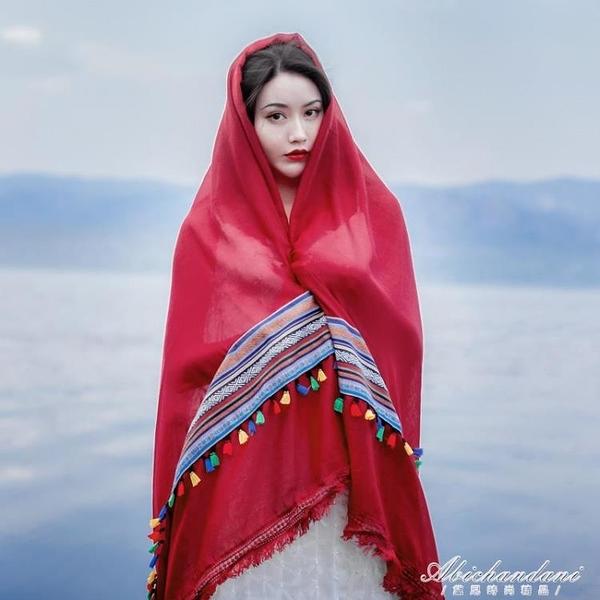 絲巾女沙漠旅游防曬披肩民族風茶卡鹽湖圍巾青海大紅色紗巾 黛尼時尚精品
