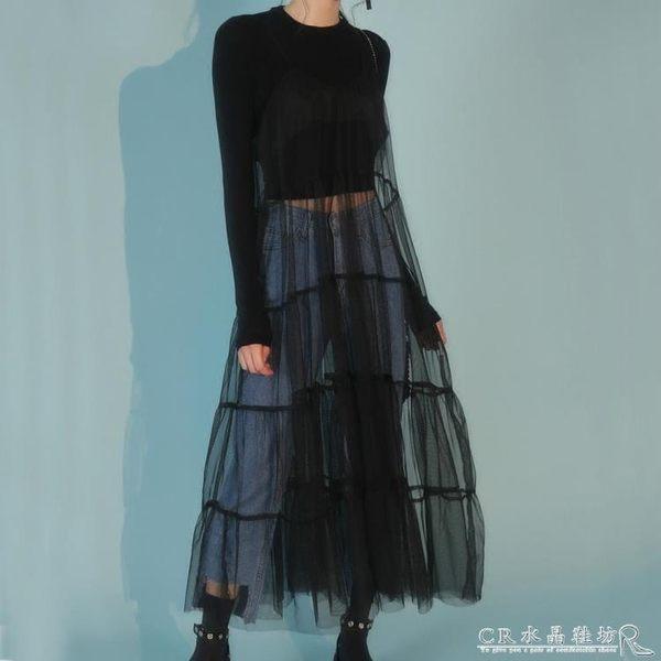 NiNa韓國chic外搭拼接網紗罩裙吊帶裙 港風透視性感中長款洋裝 『CR水晶鞋坊』