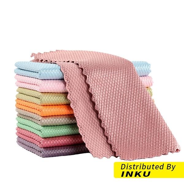 新款 魚鱗抹布 無水痕清潔毛巾 家用 車用 洗碗布 擦手巾 百潔布巾 清潔巾 25x25cm(一包五入) [現貨]