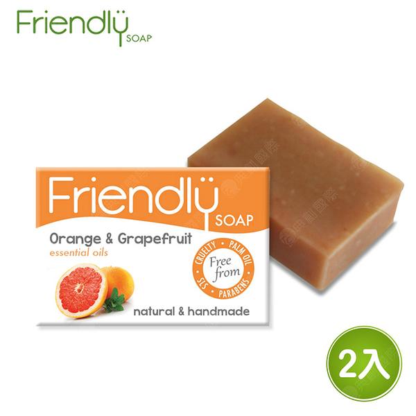 英國 FRIENDLY SOAP 富樂皂 橘子&葡萄柚維他命手工皂 (95g) 2入組