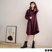 《DA5324-》高領不規則傘襬壓紋長版上衣/洋裝 OB嚴選