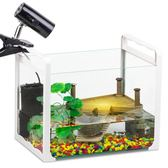 魚缸 烏龜缸帶曬臺養巴西龜缸生態魚缸水族箱客廳玻璃小型金魚缸水陸缸 伊羅鞋包