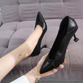 軟皮舒適工作鞋子女黑色小皮鞋細跟高跟鞋一鞋倆穿年春秋單鞋 蜜拉貝爾