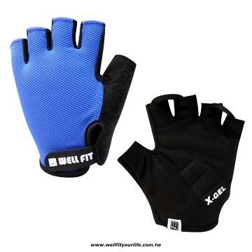 [WELL FIT 威飛客] X-GEL防震麂皮透氣FREE STYLE自行車手套-OVERLOCK寶藍色
