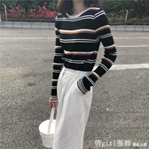 秋季2020新款韓版修身撞色條紋針織衫女薄款毛衣長袖打底衫上衣 俏girl