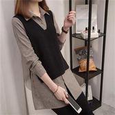 現貨灰色XL韓版遐兩件拼接上衣21659春季新款加肥加大碼假兩件套拼接時尚女裝襯衣 依品國際