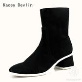 羊反絨粗跟中筒短靴 時尚舒適女靴子【Kacey Devlin 】